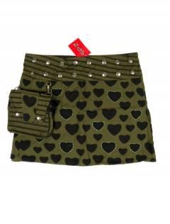 Faldas Hippies y Étnicas - Minifalda 100% algodón FAEV16 - Modelo Verde