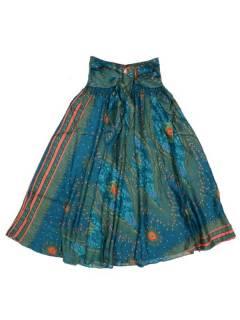 Faldas Hippies y Étnicas - Falda hippie amplia y larga FAPI01 - Modelo Azul cl
