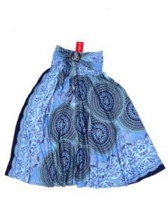 Vestidos Hippie y Alternativos - Vestido hippie con estampados FAPI02-V - Modelo Azul