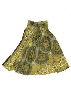 Faldas Hippies y Étnicas - Falda hippie amplia y larga FAPI02 - Modelo Verde p