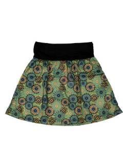 Faldas Hippies y Étnicas - Falda Corta que también FASN19 - Modelo Verde
