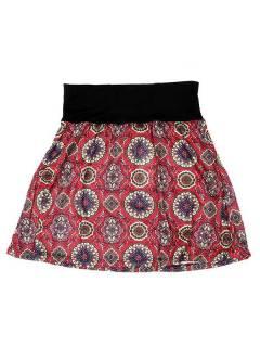 Faldas Hippie Étnicas - Falda Corta que también FASN21 - Modelo Rojo