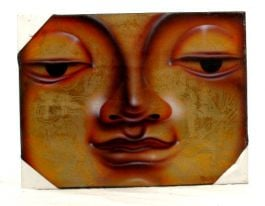 Airbrush painted canvas, budha motifs. Measurements: 30x40, to buy wholesale or detail in the category of Hippie Footwear for Men and Women | ZAS Hippie Store. [FRLI2]