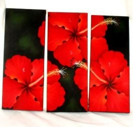 Outlet other items - Leaflet painted canvas flower motifs, set of 3 pcs. Measure [FRLI3] to buy in bulk or detail in the category of Alternative Ethnic Hippie Outlet.