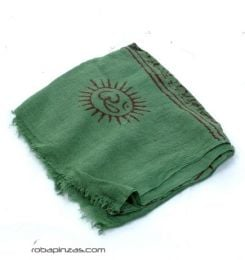 Pañuelos Fulares Pareos - Fular hare rama, Om etc, muy FUKA01 - Modelo Verde