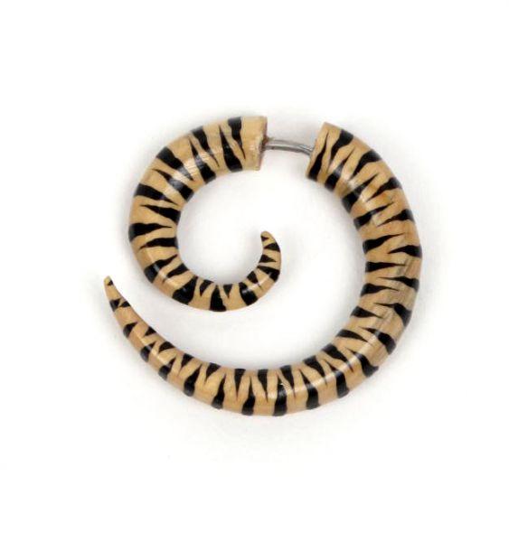 Falso dilatador de madera decorada a mano [PIFL37]. Pendientes Falso-Dilatadores para comprar al por mayor o detalle  en la categoría de Bisutería Hippie Étnica Alternativa.