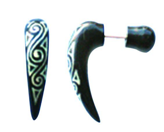 Pendientes Falso-Dilatadores - Falso expansor cuerno tallado [PIFLP01] para comprar al por mayor o detalle  en la categoría de Bisutería Hippie Étnica Alternativa.