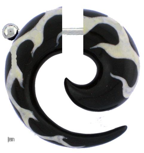 Pendientes Falso-Dilatadores - Falso expansor grueso de cuerno de búfalo tallado [PIFLP10] para comprar al por mayor o detalle  en la categoría de Bisutería Hippie Étnica Alternativa.
