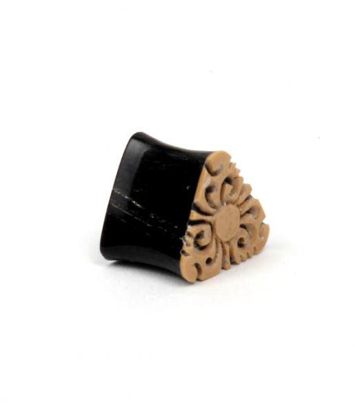Plug dilatador cuerno de búfalo y madera tallada, medidas pequeñas, Comprar - Venta Mayorista y detalle