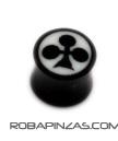 Plug tallado en cuerno y hueso, motivo Trebol de pocker. Tallas 14 PIPU4B para comprar al por mayor o detalle  en la categoría de Piercing Dilatadores Cuerno y Hueso.