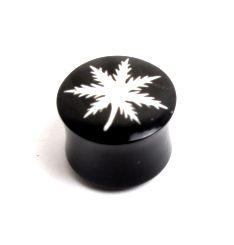 Plugs Madera Cuerno Hueso - Plug 4-6-8-10-12mm de cuerno de búfalo, motivo marihuana inlayed [PIPU9A] para comprar al por mayor o detalle  en la categoría de Piercing Dilatadores Cuerno y Hueso.