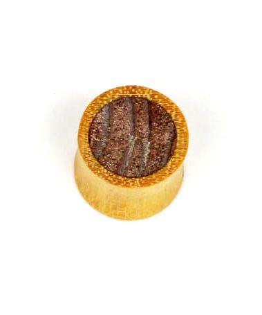 Plugs Madera Cuerno Hueso - plug dilatador combinación de dos maderas, tallas chicas, [PIPUM14A] para comprar al por mayor o detalle  en la categoría de Piercing Dilatadores Cuerno y Hueso.