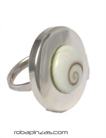 Anillo redondo ojo de shiva y plata, regulable a todas las tallas [PLANOJ10] para comprar al por Mayor o Detalle en la categoría de Aros y Pendientes Plata