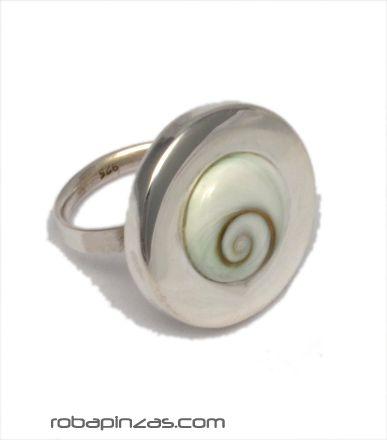Anillo plata redondo, ojo de shiva y plata, regulable a todas las tallas - DETALLE Comprar al mayor o detalle