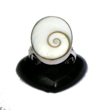 Anillo de plata, ojo de shiva engarzado, redondo u oval, tamaño medio - oval Comprar al mayor o detalle