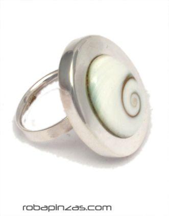 Anillo en plata y ojo de shiva, tamaño regulable a todas las tallas. [PLANOJ7] para comprar al por Mayor o Detalle en la categoría de Ojo de Shiva - Plata