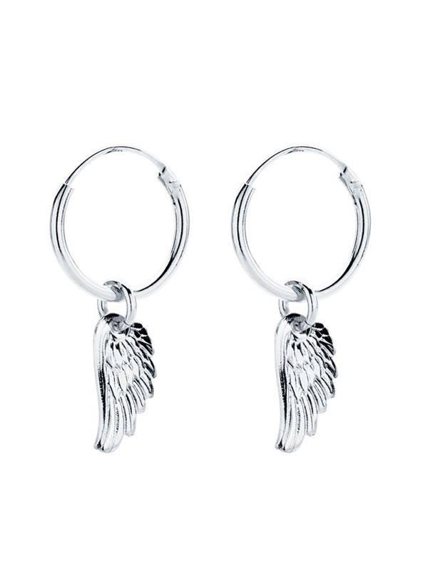 Aros de plata con colgante ala [PLARC01] para comprar al por Mayor o Detalle en la categoría de Aros y Pendientes Plata
