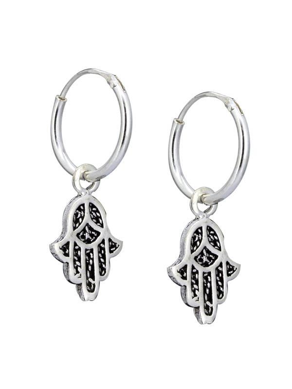 Aros de plata con colgante manos de fátima [PLARC07] para comprar al por Mayor o Detalle en la categoría de Aros y Pendientes Plata