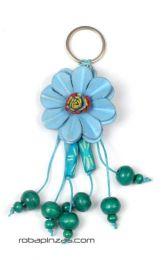 Llavero flor de cuero pequeña Mod Azul