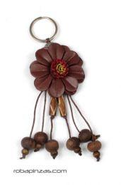Llavero flor de cuero pequeña Mod Marrón