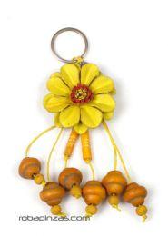 Llavero flor de cuero pequeña Mod Amarillo