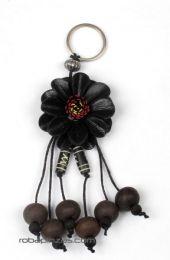 Llavero flor de cuero pequeña Mod Negro