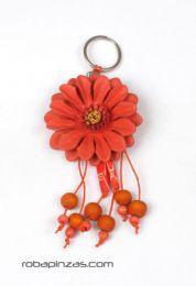 llavero flor de cuero grande Mod Naranja