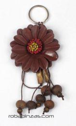 llavero flor de cuero grande Mod Marrón