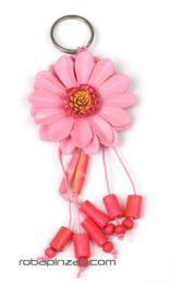 llavero flor de cuero grande Mod Rosa