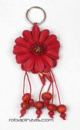 llavero flor de cuero grande Mod Rojo