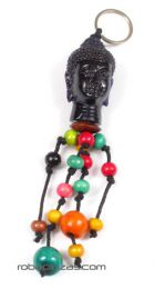 Chaveiro com cabeça de Buda e bolas coloridas, para compra no atacado ou detalhe na categoria Moda Feminina Hippie | Loja alternativa ZAS. [LLFA03]