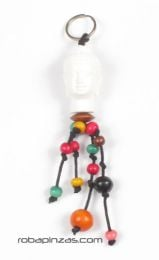 Buddha head keychain with colored balls, to buy wholesale or detail in the Bohemian Hippie Fashion Accessories category | ZAS. [LLFA03]