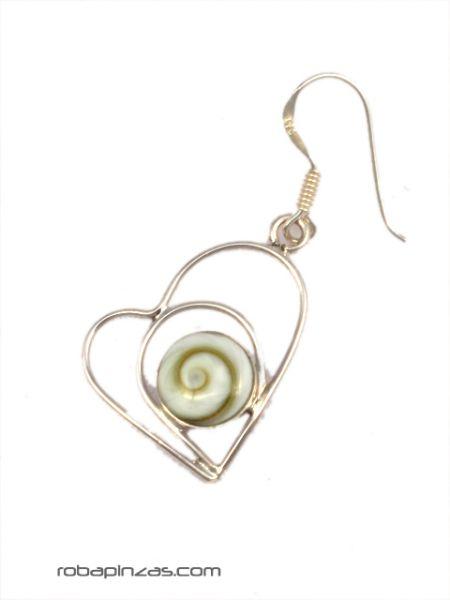 Pendientes corazón ojo de shiva y plata [PLPEOJ12] para comprar al por Mayor o Detalle en la categoría de Ojo de Shiva - Plata