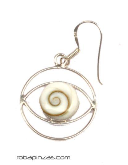 Pendientes ojo de shiva y plata [PLPEOJ6] para comprar al por Mayor o Detalle en la categoría de Aros y Pendientes Plata