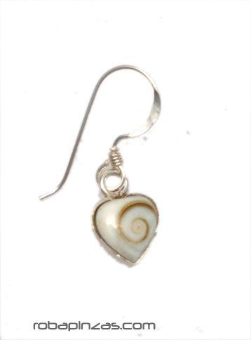 Pendientes plata corazón, ojo de shiva [PLPEOJ7] para comprar al por Mayor o Detalle en la categoría de Aros y Pendientes Plata