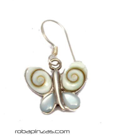 Pendientes mariposa ojo de shiva y plata [PLPEOJ8] para comprar al por Mayor o Detalle en la categoría de Aros y Pendientes Plata