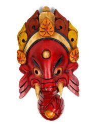 Máscara ganesh realizadas manualmente en madera y decoradas a mano MASC12 para comprar al por mayor o detalle  en la categoría de Artículos Artesanales.