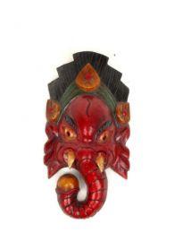 Máscara Ganesh en madera decorada a mano, y realizada en nepal alto MASC6 para comprar al por mayor o detalle  en la categoría de Artículos Artesanales.