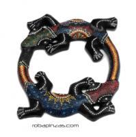 Gecko doble madera de sono decorada, tamaño pequeño MASGE6 para comprar al por mayor o detalle  en la categoría de Decoración Étnica Alternativa. Incienso y Expositores | ZAS Tienda Hippie.