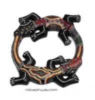 Gecko doble madera de sono decorada, tamaño pequeño, para comprar al por mayor o detalle  en la categoría de Decoración Étnica Alternativa. Incienso y Expositores | ZAS Tienda Hippie.[MASGE6]
