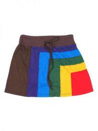 minifalda hippie algodón Mod Marrón