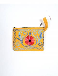 Monedero Piel melocotón tibet bordado MOKA01 para comprar al por mayor o detalle  en la categoría de Accesorios de Moda Hippie Bohemia | ZAS.