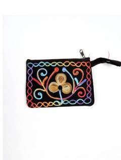 Tibet embroidered peach leather purse [MOKA01]. Wallets / Purses to buy wholesale or detail in the Alternative Hippies Accessories category.