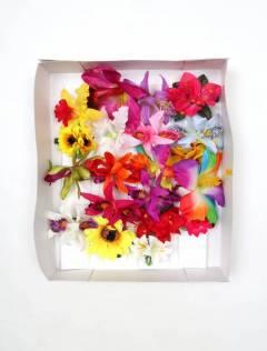 Cintas pelo / Máscaras - Flores pinza de tela, flores ORFLT.