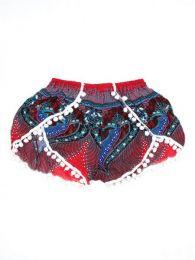 Pantalones Cortos Hippie Ethnic - Pantalón hippie corto PAET06 - Modelo Rojo