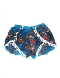 Pantalones Cortos Hippie Ethnic - Pantalón hippie corto PAET06 - Modelo Azul