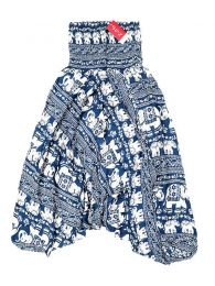 Pantalones Hippies Harem Boho - Pantalón hippie ancho PAPA17 - Modelo Azul