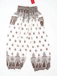 Pantalones Hippie Harem - Pantalón unisex hippie PAPA20 - Modelo Blanco m
