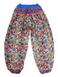 Pantalones Hippie Harem - Pantalon afgano en rayón PAPJ01 - Modelo Azul