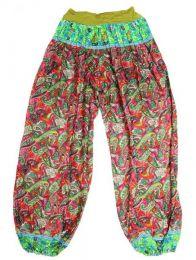 Pantalones Hippie Harem - Pantalon afgano en rayón PAPJ01 - Modelo Verde